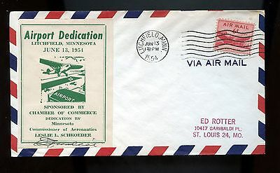 US Airport Dedication cover 1954 Litchfield, Minn, signed