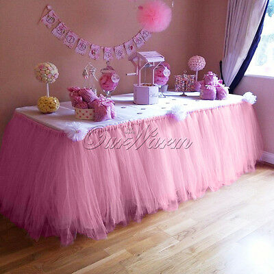 Pink Morbidezza TUTU Table Skirt Wedding Baby Shower Table Cover Decor 80 x100cm