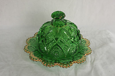 Eapg Antique Northwood Glass Emerald Green Gold Decorated Covered Butter Dish