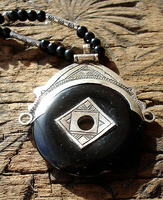 Niger Tuareg silver black agate scarab hand engrave pendant necklace + beads