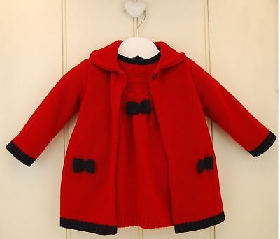 2 Pc Baby Girl Red Fine Knit Dress & Coat Cardigan Set Cable Detail 6-12-18-24m