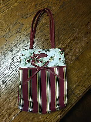 NEW Longaberger HOLIDAY GIFT BAG Poinsettia Stripes Red Maroon Christmas Tote