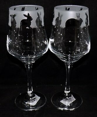 """New Etched """"RABBIT WINE GLASS(ES)"""" -  * Can be gift Boxed * Beautiful Gift"""
