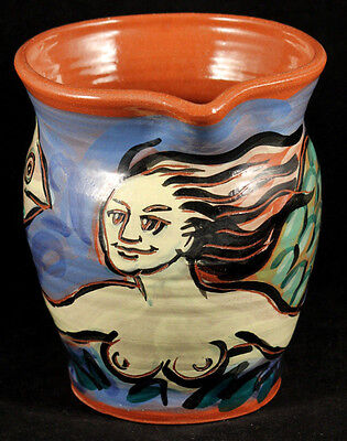 Ceramic/Pottery Pitcher Mermaid with Fish Hand Crafted/Painted Signed