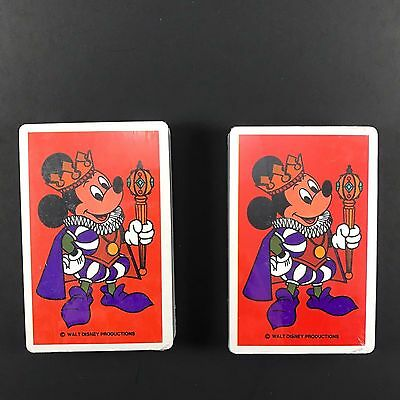 9dd524ea216 walt disney mickey mouse playing cards red deck lot of 2 productions .