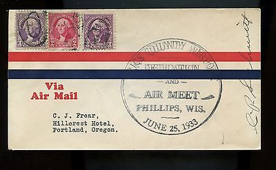 US Airport Dedication cover 1933 Phillips, Wisc, signed by ??