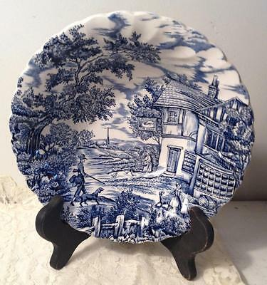 Myott Staffordshire The Hunter Serving Bowl Blue White Transferware England 8.5