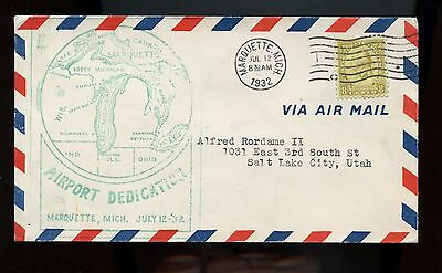 US Airport Dedication cover 1932 Marquette, Michigan with Great Lakes Cachet