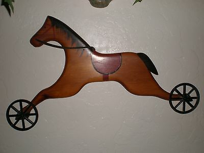 Vintage Wooden Painted Horse On Wheels Wall Decor~Cute!