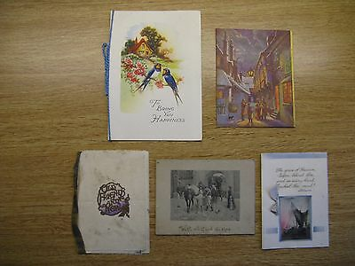 Vintage Christmas Cards X 5 1920's / 1930's