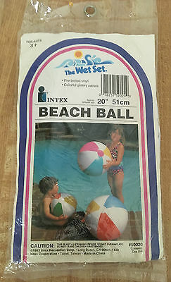 "Vintage The Wet Set by Intex 20"" Inflatable Beach Ball 1983 NEW"