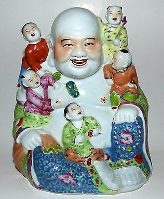 Large Vintage CHINESE Porcelain LAUGHING BUDDHA With CHILDREN Statue Sculpture