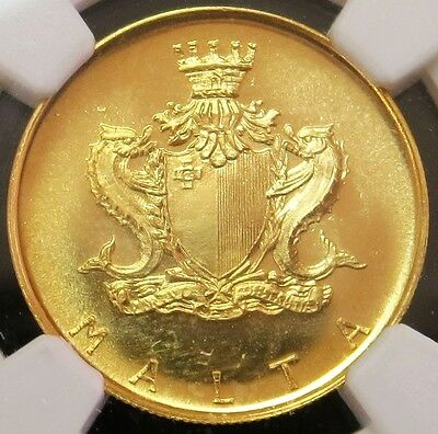 1972 Gold Malta £10 Pounds Stone Charcoal Stove Coin Ngc Mint State 67