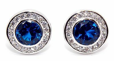 Sterling Silver Blue Sapphire And Diamond 2.26ct Stud Earrings (925)