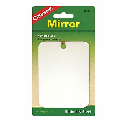 Coghlan's Stainless Steel Camping Mirror Unbreakable Hiking Outdoors Travel