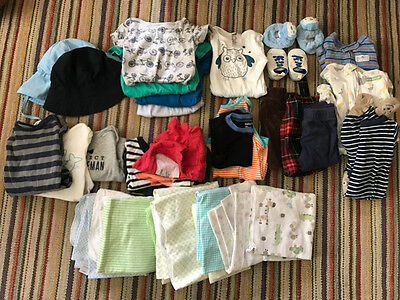 Lot of Baby Boys Clothes Size 6-9 Months + Swaddle Blankets Carter Baby Gap