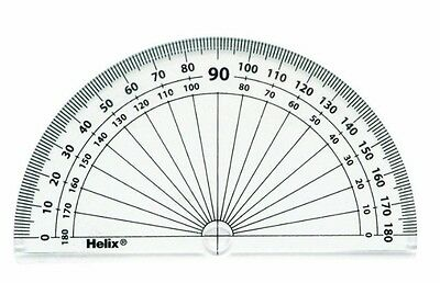 Protractor, Helix, 180 Degrees, 10Cm / 4In. Diameter, New, Clear, Clear Plastic