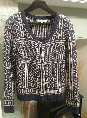 fat face heavy knit cardigan ladies size 12 blue/white