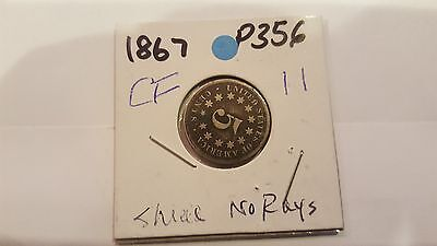 1867 Shield Nickel 5 Cent Piece- No Rays