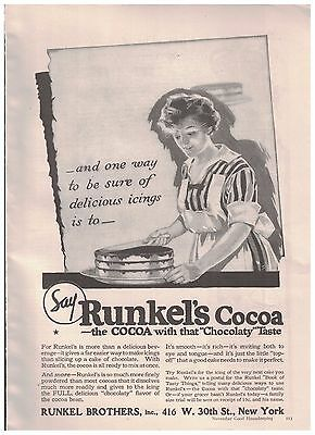 Woman Icing Cake in 1916 Runkel's Cocoa Ad - The Cocoa With That Chocolaty Taste