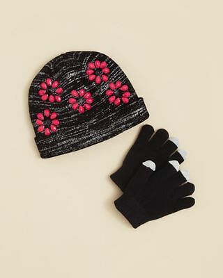 CAPELLI OF NEW YORK $21 NEW 1216 Black Knit Hat & Gloves 2Pc Set Girls Kids S/M