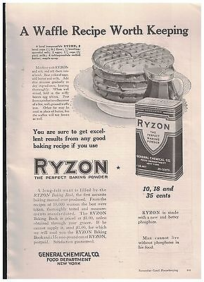Waffle Recipe Worth Keeping in 1916 Ryzon The Perfect Baking Powder Ad