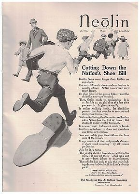 Children Running in 1916 Neolin Soles Ad From The Goodyear Tire & Rubber Co