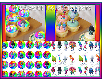 Trolls Edible Rice Wafer Paper Cupcake Birthday Cake Toppers Inc Stand Up