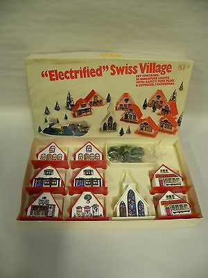 Vintage Regency Christmas Lighted Electrified Swiss Village In Box (A6)