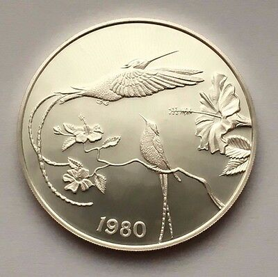1980 Jamaica Proof Silver 10 Dollars Streamer-Tailed Hummingbirds Coin