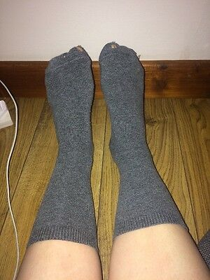 Worn Used Ladies Grey Cotton Socks Soft Comfy Size S