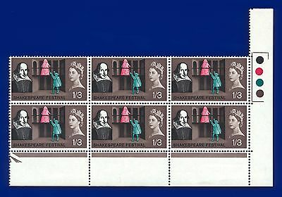 1964 SG648 1s3d Shakespeare Festival Traffic Light Block of 6 Unmounted Mint MNH