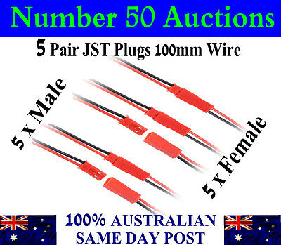 5 Pairs JST plugs / connectors 22AWG Wire 100mm Male & Female set. 5 x M . 5 x F