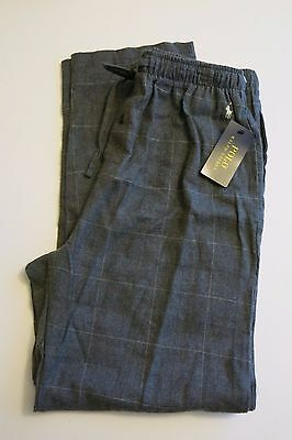Polo Ralph Lauren Men's M Gray Plaid Flannel Cotton Pajama Lounge Pants NWT