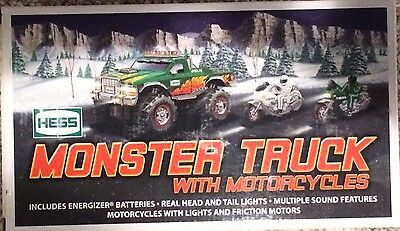 New in Box 2007 Hess Monster Toy Truck with Motorcycles