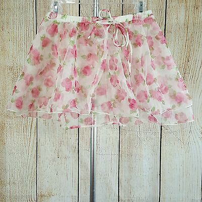 Capezio Girls Dance Skirt Size Large White Pink Roses Mock Wrap Sheer Practice