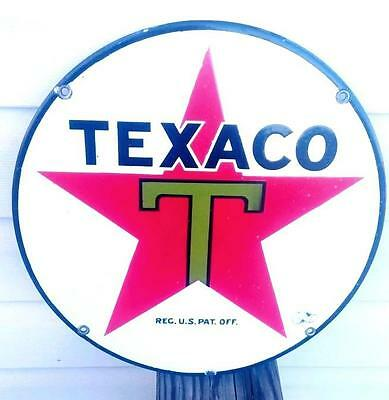 "Vintage *RARE* Early Original TEXACO ""T"" Star 1920s Porcelain Lubester Pump Sign"
