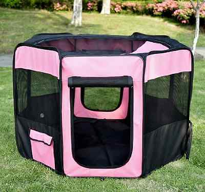 PawHut 46-inch Pet Playpen Soft Exercise Puppy Dog Pen Portable Crate New Pink +