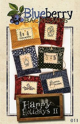 HAPPY HOLIDAYS 2 EMBROIDERY PATTERN, From Blueberry Backroads NEW