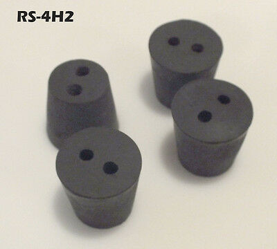 #4 Black Natural Rubber Laboratory Stoppers Size 4 2-HOLE STOPPER 4/pack RS-4H2