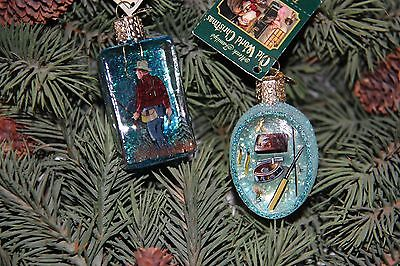 *Set of 2 Inside Art - Fishing #1* Old World Christmas Glass Ornament - NEW