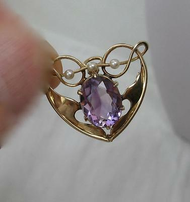 Amethyst Heart Pendant Necklace Pearl c1880 12K Gold Art Nouveau Arts & Crafts