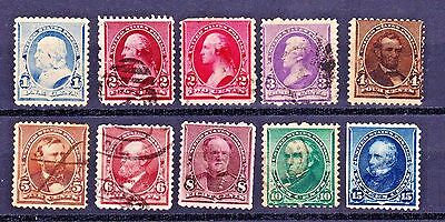 Scott # 219 Thru 227  Complete 10 Different Sequential Stamps Used Cat Val $100