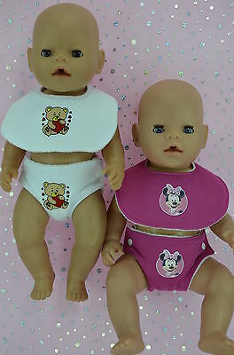 "Play n Wear Doll Clothes For 17"" Baby Born  2 SETS~BIBS & REUSABLE NAPPIES"
