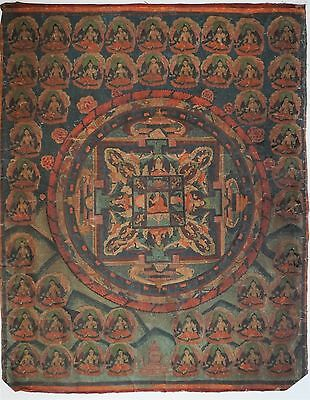 "Rare Antique 19Th C Tibetan Chinese Unframed Thangka Mandala 33"" X 26 ½"""