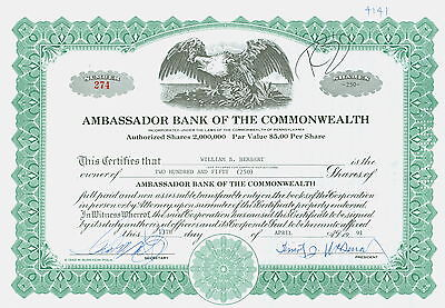 Stock Certificate - AMBASSADOR BANK OF THE COMMONWEALTH