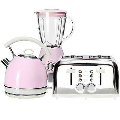 Pastel Pink Kettle and 4 Slice Toaster Kitchen Vintage Aid Retro Classy Set