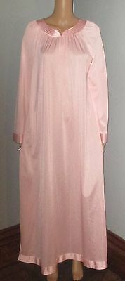Vintage Shadowline Pink Nylon Cotton Lined Long Flowing Nightgown Satin Trim M