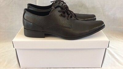 Calvin Klein 4510 Mens Brodie Brown Leather Oxford Shoes Size 8.5 Medium (D) NEW