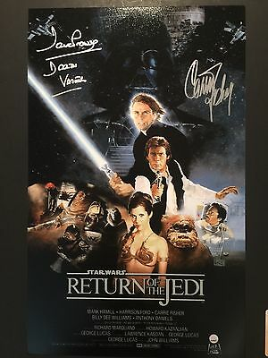 Star Wars Carrie Fisher David Prowse Darth Vader Autograph Signed Photo Steiner